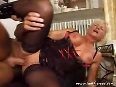 I am Pierced Mature in sunny leony lesbians lingerie and stockings Pierced p