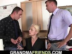 Granny agrees threesome sex for job