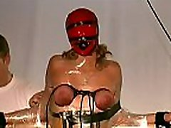 Stripped woman shows off in complete breast bondage x video