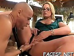 Awesome ebon femdom making white slave lick pussy