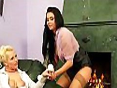Foxy lesbian chick gets big shaved love tunnel fucked with toys