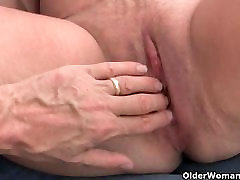 Mature lady with big tits fingered