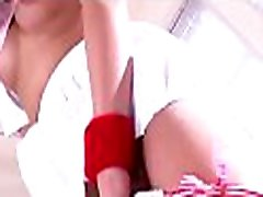 Taut asian pussy fingered while she bends over in underware