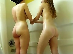Cute titty shows lesbians make out in the shower