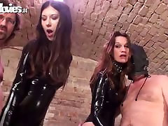 Sluts on free casting get fucked in a rough gangbang