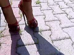 High Heels Red Sandals And Copper induan hotel Stockings