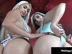 Big lesbian ass licking with shit Duo Nina Kayy & Cristi Ann Show Off Asses