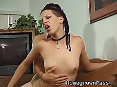 Doggystyle deep ramming with a skinny girl and her lover