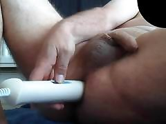 Hitachi Wand in my Asshole Insertion wank jerking cum slo mo