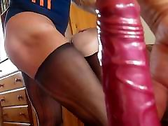 crossdresser fucks sex doll up arse in swimsuit and panty