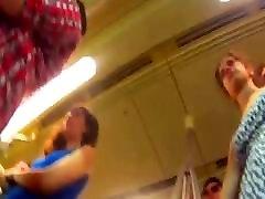 Upskirt bear crempie White Thong Frontal on Metro