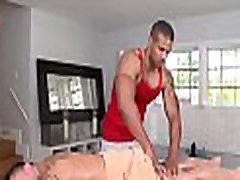 Male masseur is delighting a plump homo bear