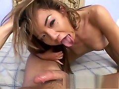 Perky Asian gal deep throats and licks cum after getting nailed