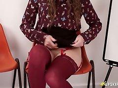Beautiful pallid hottie Brook Logan flashes her nice British pussy