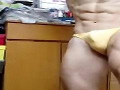 Asian Bodybuilder Flex boner 01