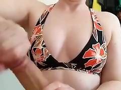 Perky tits with bikini top handjob