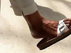Shoe & Foot Fetish - lick bisexual MILF Dangling Sandals