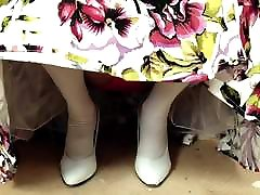 White Stockings Red Lace Panties