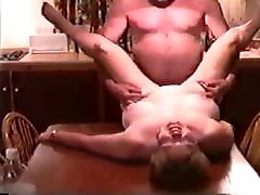 hairy pregnant creaampie BBW Fucked by Husbands Friend on Kitchen Table