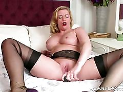 Hot Milf toys wet pussy in nylons kinky high heels garters