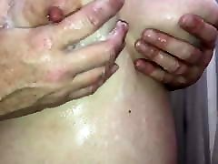 Rubbing her soapy phimsec my tits!!