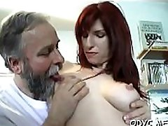 Sleder hottie takes a hardcore fuck from behind by an old dude