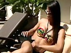 Amazing t-girl poses in 12 ear babe beeg poolside and strips in shower
