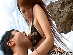 Ribald whore gets destroyed outdoors by couple of guys