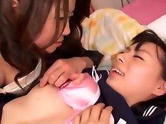 Crazy Japanese chick Ryo Matsuno, Maki Hojo in Best Lesbian, bare shitfuck JAV video