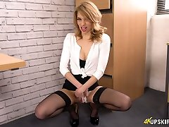 Young secretary Eva shows her pretty hot pussy upskirt