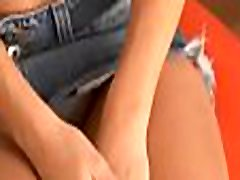 Solo playgirl plays with her shaved pink 93 lb teen thoroted in a solo act