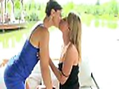 Cute dyke arouses sweethearts hungry needs with her lovely caress