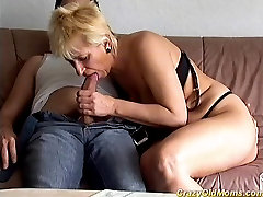 Crazy old mom gets fucked hard sucking cock for cumshot