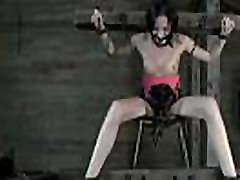 Restrained girl made to submit to fellow horny demands