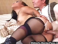 Big guy fucks under dress anal in nylons