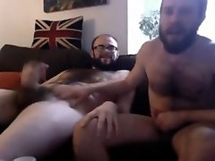 Couple of bears wanking and eating cum