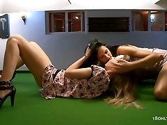 Horny lesbians go wild on the billiard table