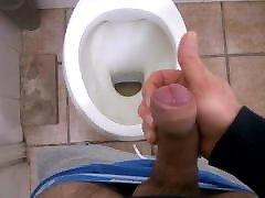 Jerk-off in the public bathroom