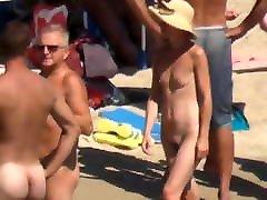 Hot naked small tit hottie walks on nudist beach
