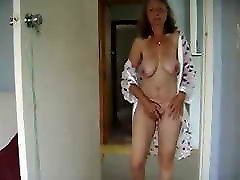 Mature pose and pull nipples