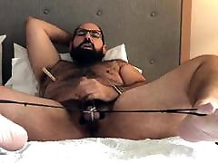 Bondage bear cumming