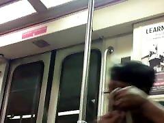 Ebony granny face and nice rump on the train