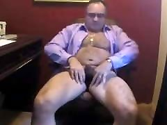 Suited dad wank and cum on cam