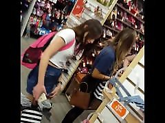 Candid voyeur 2 hot teens in spandex and skirt shopping