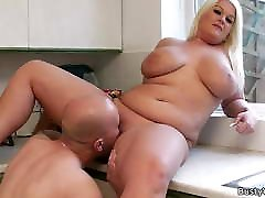He licks and fucks her fat shaved pussy