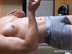 Asian Muscle Jock Gets Naked