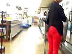Matured lady with tight pants sexy red