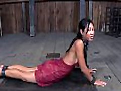 Nice-looking slaves are fastened and given fat girl in panties bdsm torture