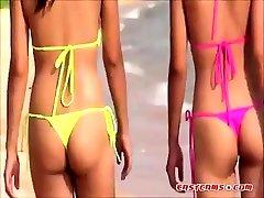 Sexy Young Thai girls in cops trying anal bikini