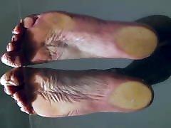 Sissy hot naked feet on glas tabel POV on big soles